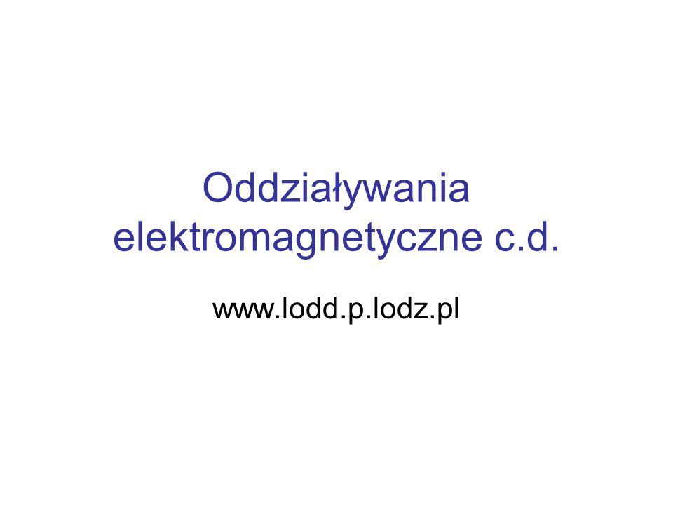 Oddziaływania elektromagnetyczne c.d. www.lodd.p.lodz.pl