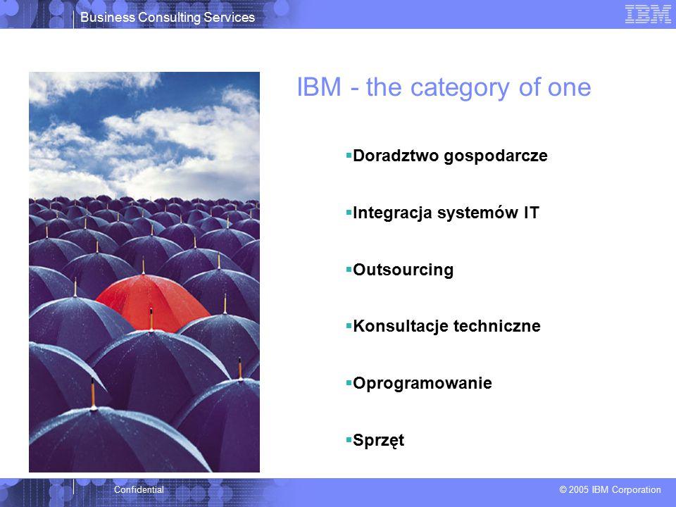 Business Consulting Services © 2005 IBM Corporation Confidential  Doradztwo gospodarcze  Integracja systemów IT  Outsourcing  Konsultacje techniczne  Oprogramowanie  Sprzęt IBM - the category of one