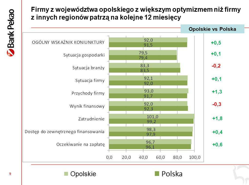 9 Firmy z województwa opolskiego z większym optymizmem niż firmy z innych regionów patrzą na kolejne 12 miesięcy +0,5 +0,1 -0,2 +0,1 +1,3 -0,3 +1,8 +0,4 +0,6 Opolskie vs Polska Opolskie