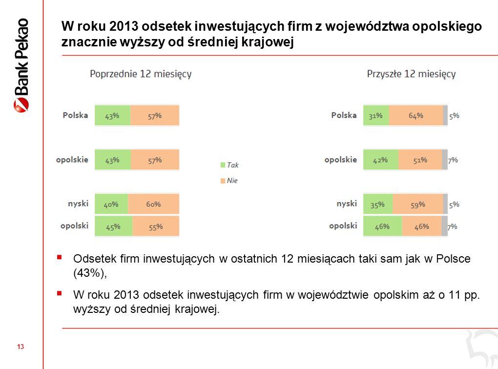 13 W roku 2013 odsetek inwestujących firm z województwa opolskiego znacznie wyższy od średniej krajowej  Odsetek firm inwestujących w ostatnich 12 miesiącach taki sam jak w Polsce (43%),  W roku 2013 odsetek inwestujących firm w województwie opolskim aż o 11 pp.