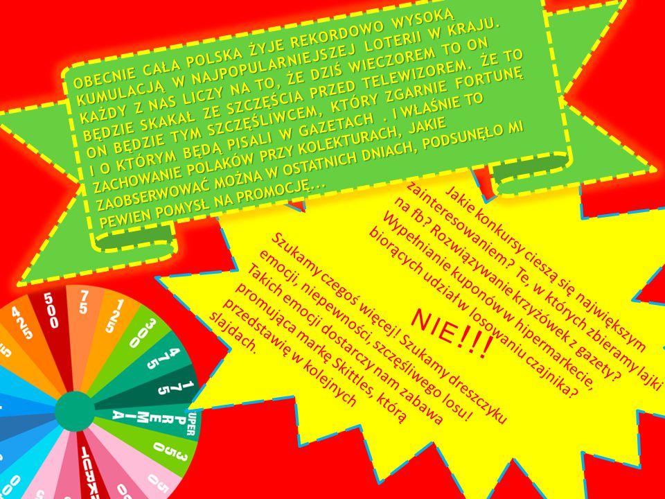 szczęśliwym losem miałaby być skumulowana dawka tęczy czyli CZARNY cukierek Skittles, w zamian za który szczęśliwy znalazca otrzyma nagrody sponsorowane przez markę Skittles mój pomysł na promocj ę Skittles to zabawa w poszukiwaniu wygranej w opakowaniach cukierków tej marki
