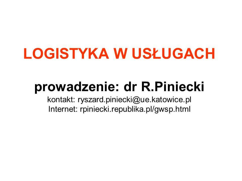 LOGISTYKA W USŁUGACH prowadzenie: dr R.Piniecki kontakt: ryszard.piniecki@ue.katowice.pl Internet: rpiniecki.republika.pl/gwsp.html