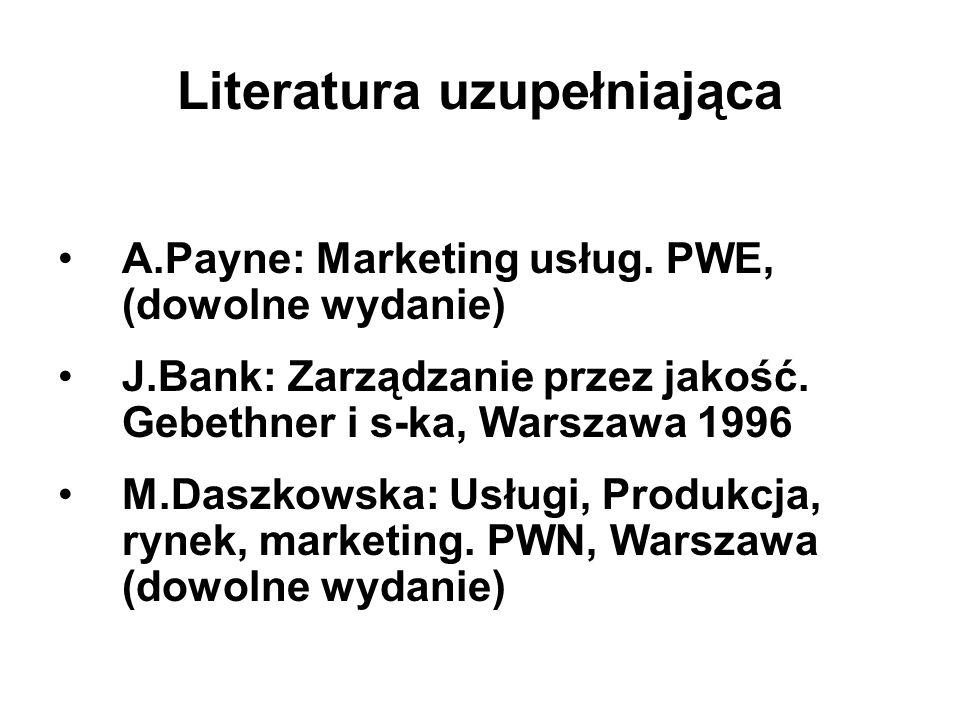 Literatura uzupełniająca A.Payne: Marketing usług. PWE, (dowolne wydanie) J.Bank: Zarządzanie przez jakość. Gebethner i s-ka, Warszawa 1996 M.Daszkows
