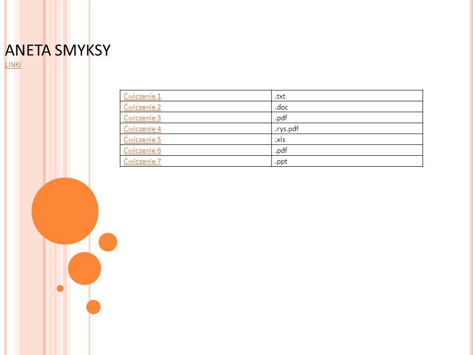 Ćwiczenie 1.txt Ćwiczenie 2.doc Ćwiczenie 3.pdf Ćwiczenie 4.rys.pdf Ćwiczenie 5.xls Ćwiczenie 6.pdf Ćwiczenie 7.ppt ANETA SMYKSY LINKI