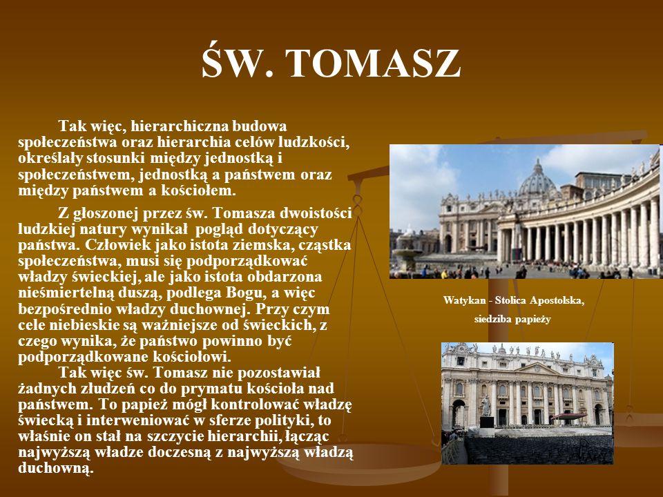 ŚW. TOMASZ Tak więc, hierarchiczna budowa społeczeństwa oraz hierarchia celów ludzkości, określały stosunki między jednostką i społeczeństwem, jednost