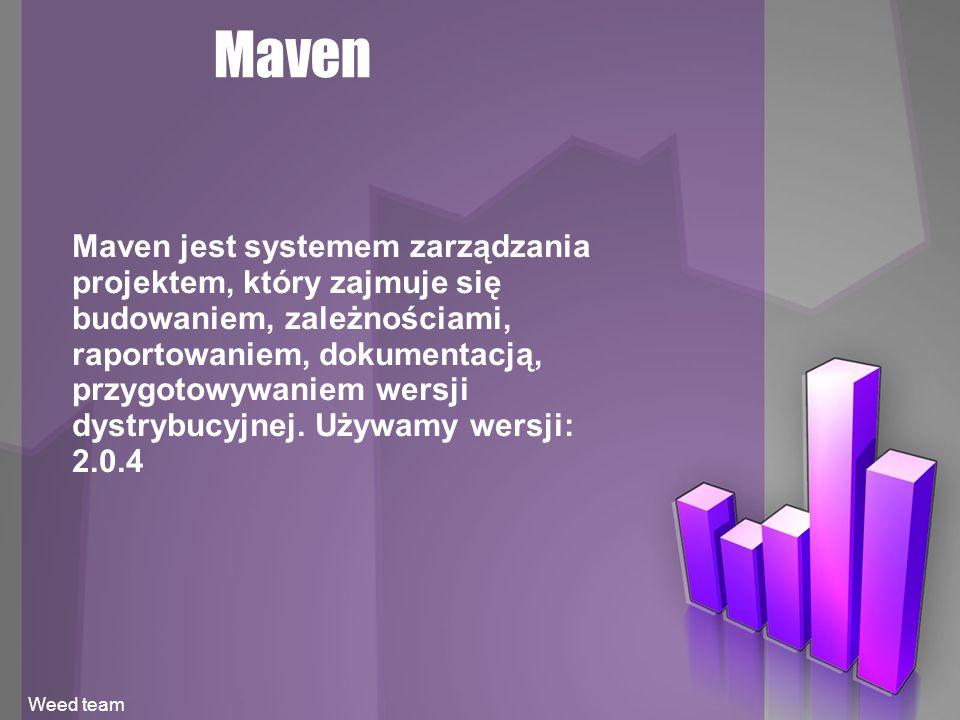 Maven Maven jest systemem zarządzania projektem, który zajmuje się budowaniem, zależnościami, raportowaniem, dokumentacją, przygotowywaniem wersji dystrybucyjnej.