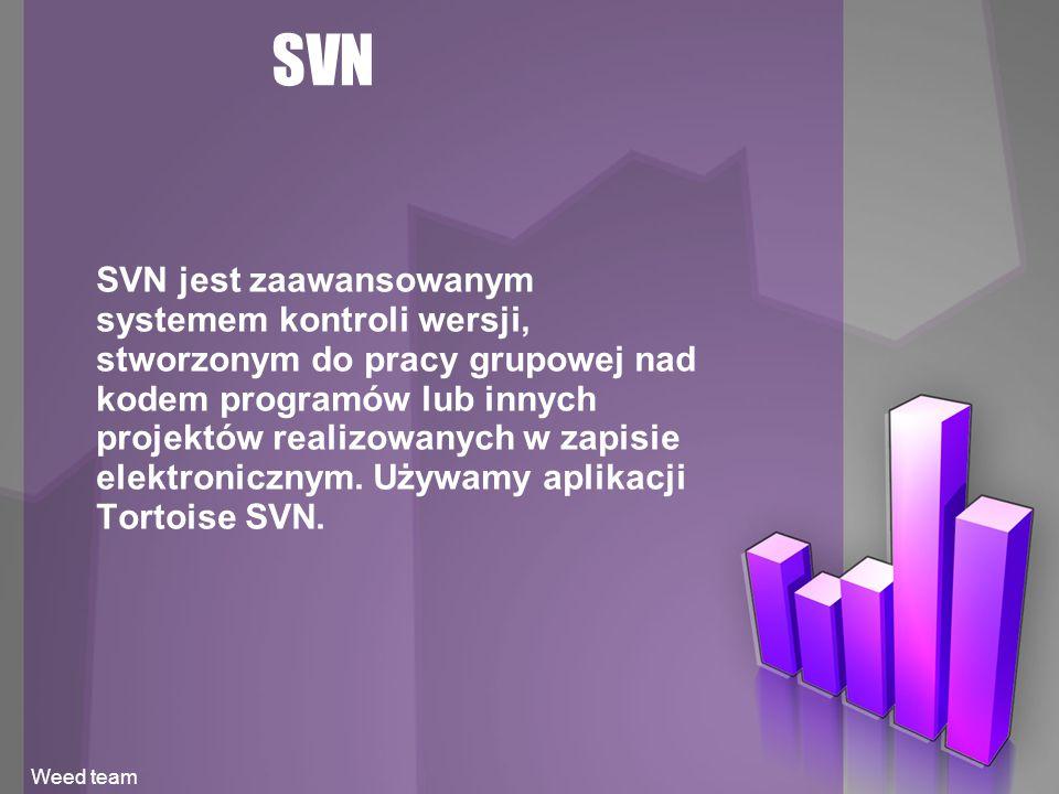 SVN SVN jest zaawansowanym systemem kontroli wersji, stworzonym do pracy grupowej nad kodem programów lub innych projektów realizowanych w zapisie elektronicznym.