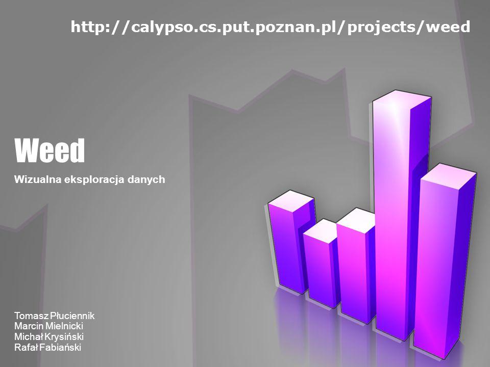 Weed Wizualna eksploracja danych Tomasz Płuciennik Marcin Mielnicki Michał Krysiński Rafał Fabiański http://calypso.cs.put.poznan.pl/projects/weed