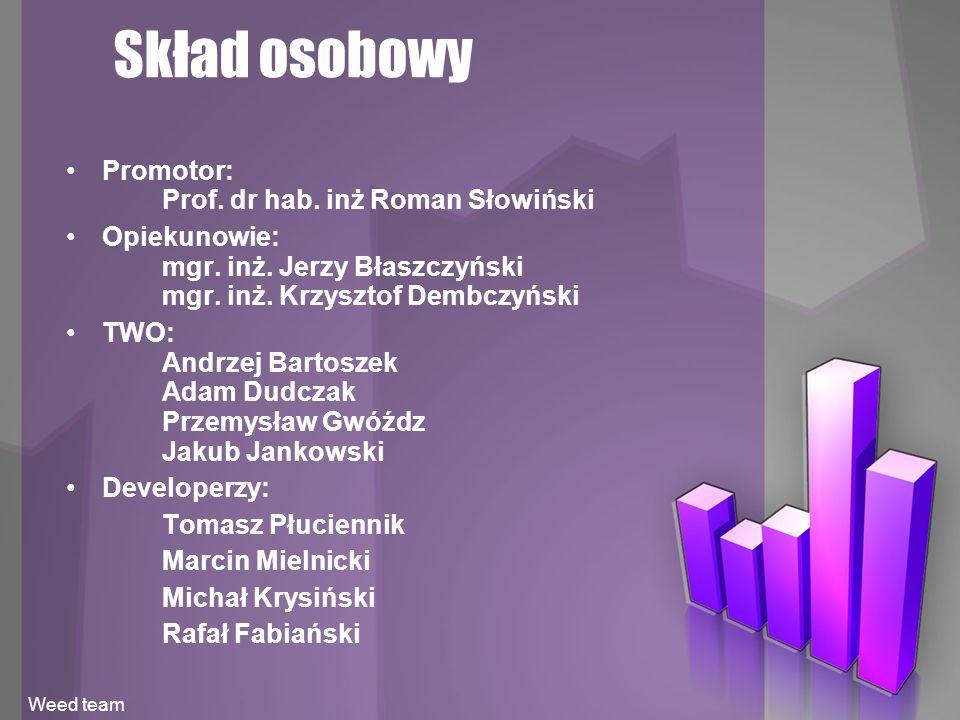 Skład osobowy Promotor: Prof. dr hab. inż Roman Słowiński Opiekunowie: mgr.