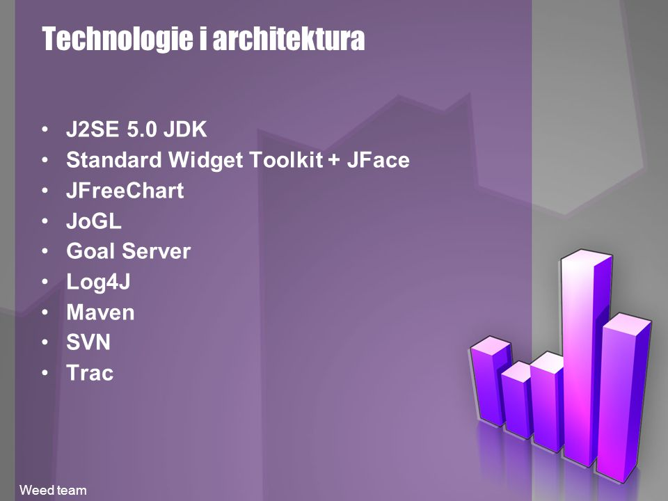 Technologie i architektura J2SE 5.0 JDK Standard Widget Toolkit + JFace JFreeChart JoGL Goal Server Log4J Maven SVN Trac Weed team