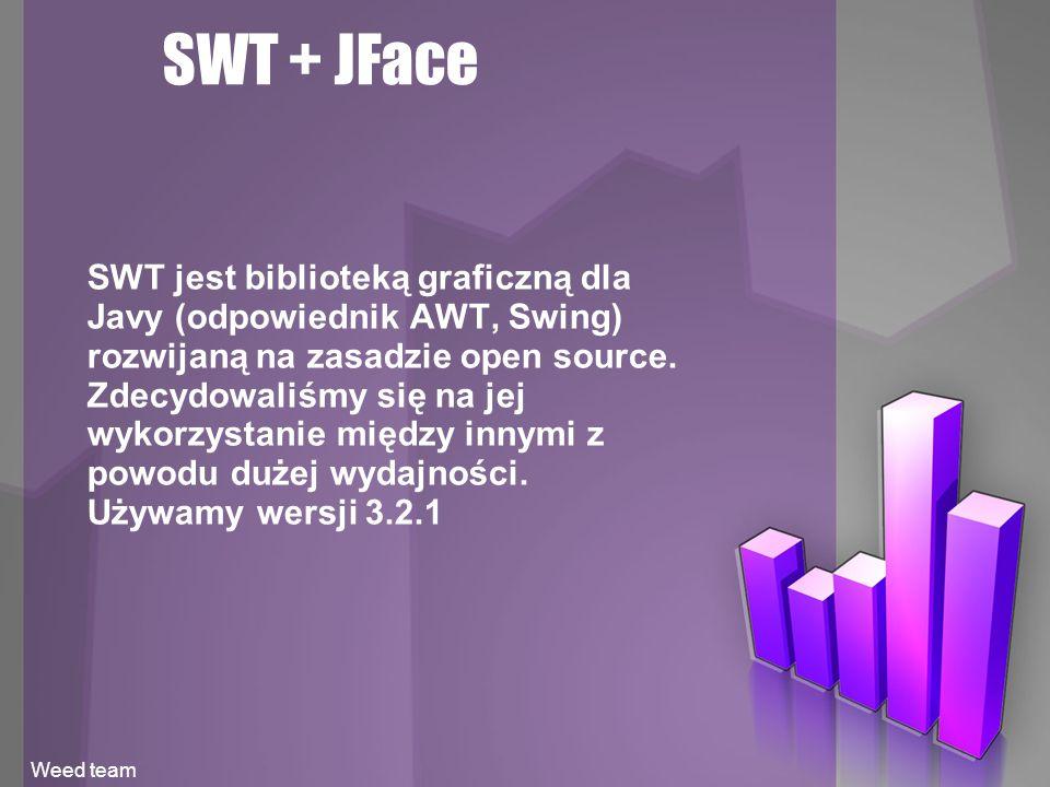 SWT + JFace SWT jest biblioteką graficzną dla Javy (odpowiednik AWT, Swing) rozwijaną na zasadzie open source.