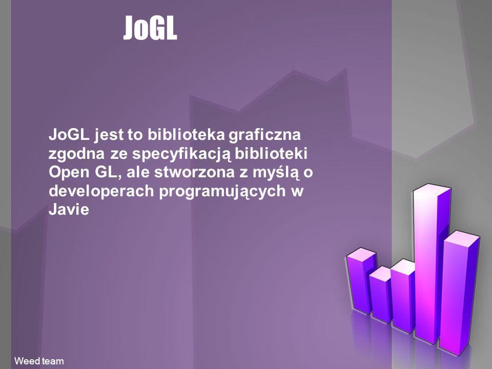 JoGL JoGL jest to biblioteka graficzna zgodna ze specyfikacją biblioteki Open GL, ale stworzona z myślą o developerach programujących w Javie Weed team