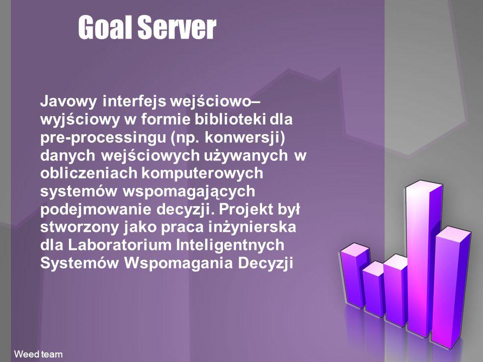 Goal Server Javowy interfejs wejściowo– wyjściowy w formie biblioteki dla pre-processingu (np.