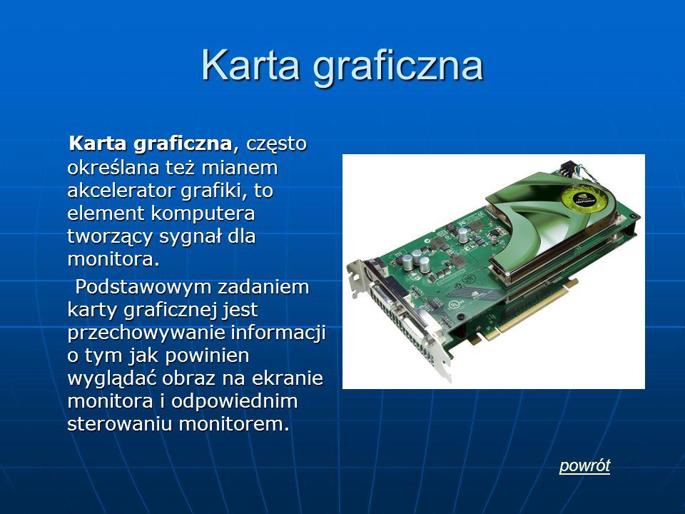 Karta graficzna Karta graficzna, często określana też mianem akcelerator grafiki, to element komputera tworzący sygnał dla monitora. Karta graficzna,