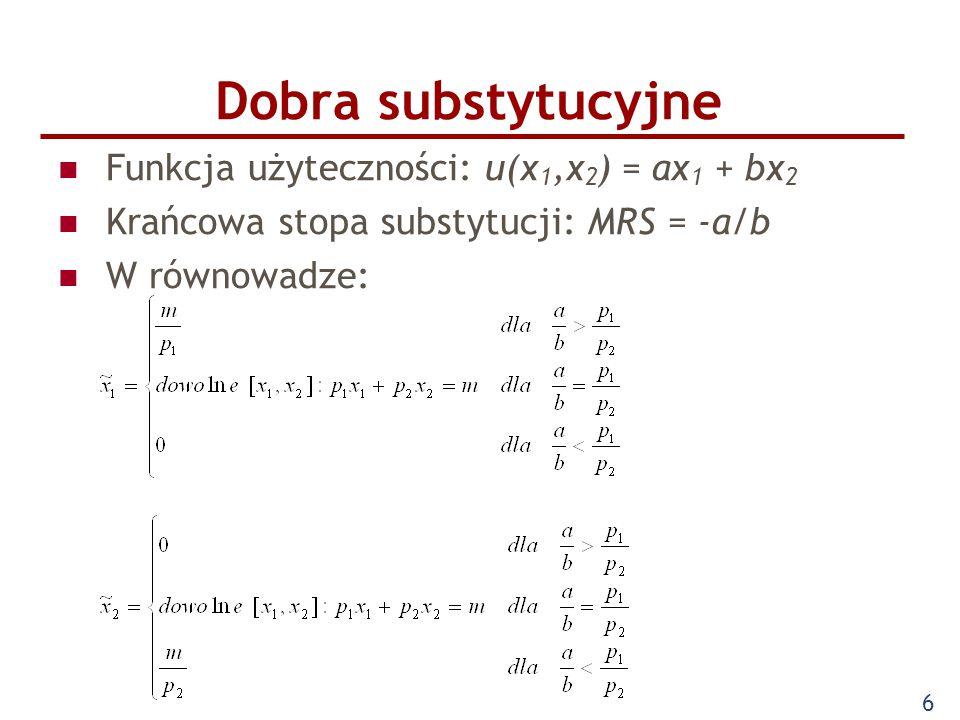 6 Funkcja użyteczności: u(x 1,x 2 ) = ax 1 + bx 2 Krańcowa stopa substytucji: MRS = -a/b W równowadze: