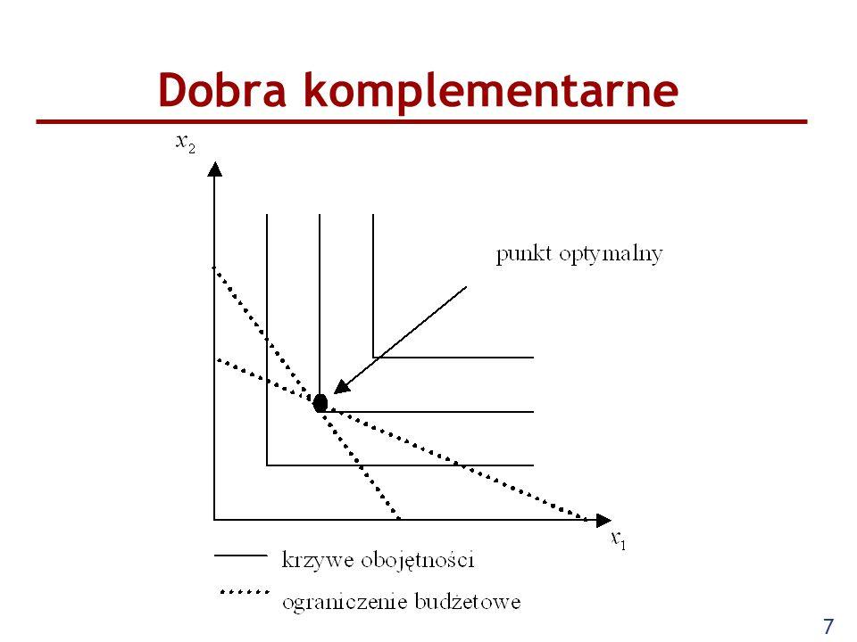 8 Funkcja użyteczności: u(x 1,x 2 ) = min {ax 1, bx 2 } Krańcowa stopa substytucji: MRS = 0 czyli występuje brak substytucji pomiędzy dobrami W równowadze: