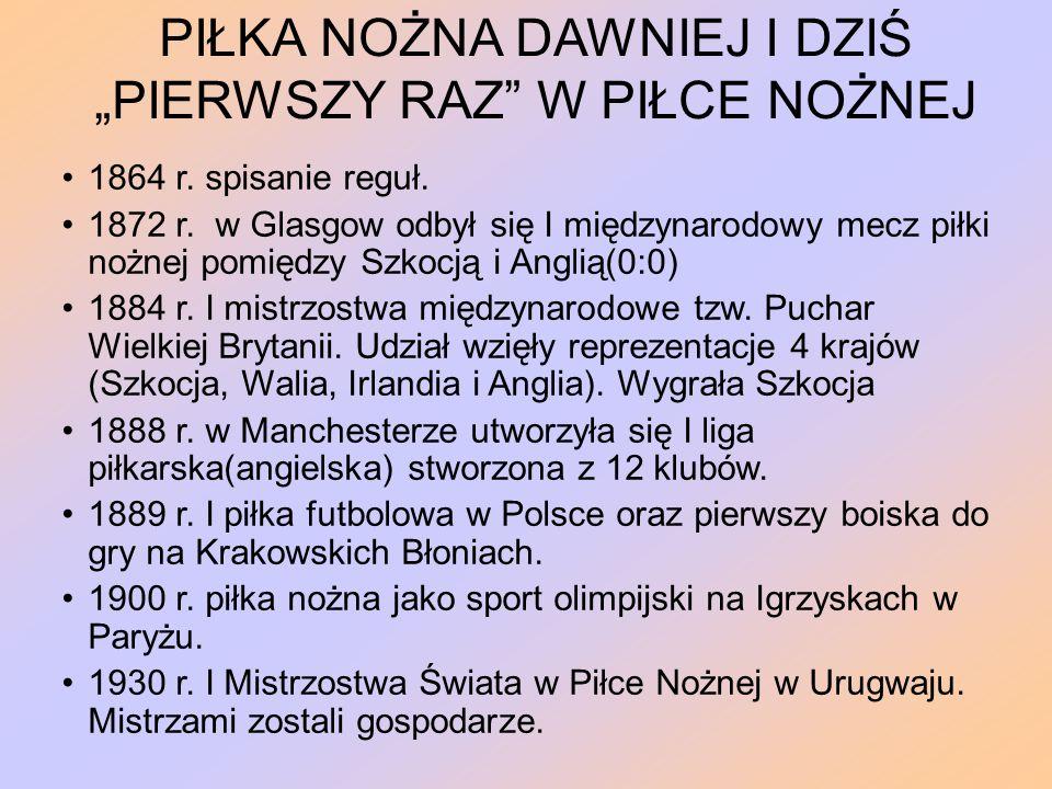 """PIŁKA NOŻNA DAWNIEJ I DZIŚ """"PIERWSZY RAZ W PIŁCE NOŻNEJ 1864 r."""