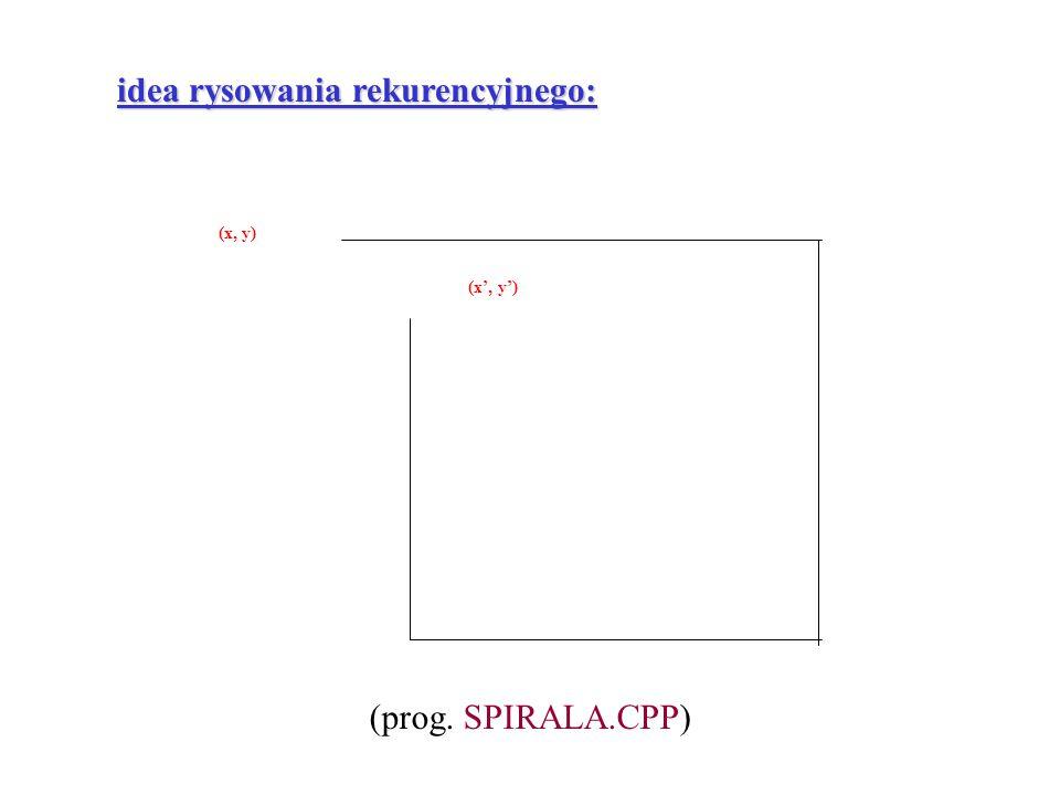 (x, y) (x', y') idea rysowania rekurencyjnego: (prog. SPIRALA.CPP)