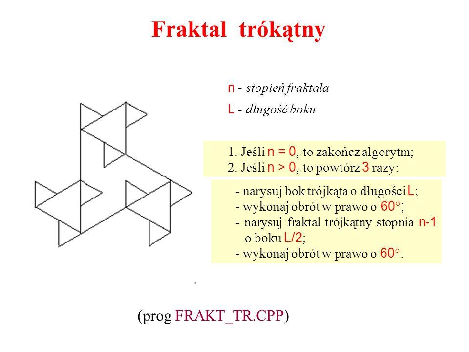 Fraktal trókątny - narysuj bok trójkąta o długości L ; - wykonaj obrót w prawo o 60  ; - narysuj fraktal trójkątny stopnia n-1 o boku L/2 ; - wykonaj
