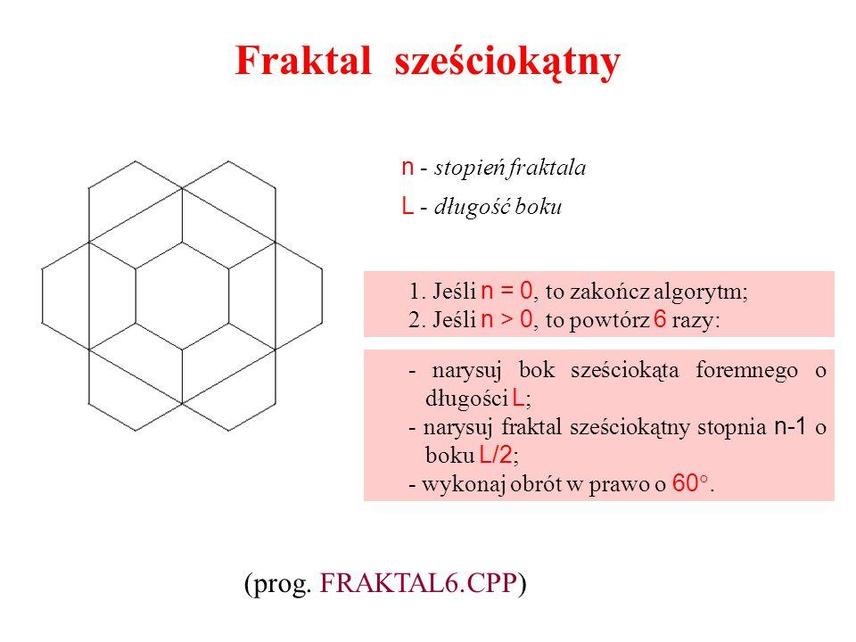 Fraktal sześciokątny 1. Jeśli n = 0, to zakończ algorytm; 2. Jeśli n > 0, to powtórz 6 razy: - narysuj bok sześciokąta foremnego o długości L ; - nary