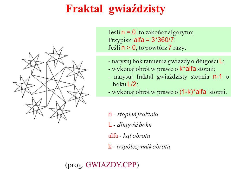 Fraktal gwiaździsty Jeśli n = 0, to zakończ algorytm; Przypisz: alfa = 3*360/7; Jeśli n > 0, to powtórz 7 razy: - narysuj bok ramienia gwiazdy o długo
