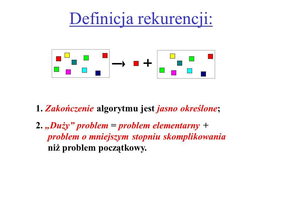 """Definicja rekurencji: 1. Zakończenie algorytmu jest jasno określone; 2. """"Duży"""" problem = problem elementarny + problem o mniejszym stopniu skomplikowa"""