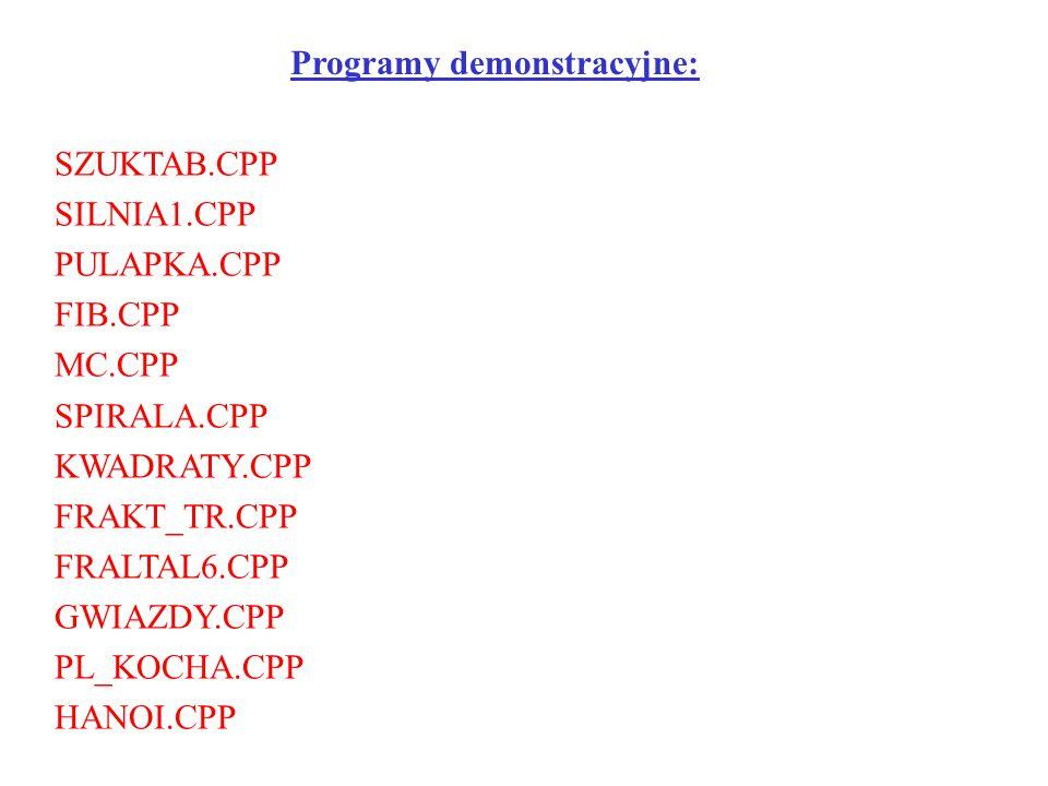 Programy demonstracyjne: SZUKTAB.CPP SILNIA1.CPP PULAPKA.CPP FIB.CPP MC.CPP SPIRALA.CPP KWADRATY.CPP FRAKT_TR.CPP FRALTAL6.CPP GWIAZDY.CPP PL_KOCHA.CP