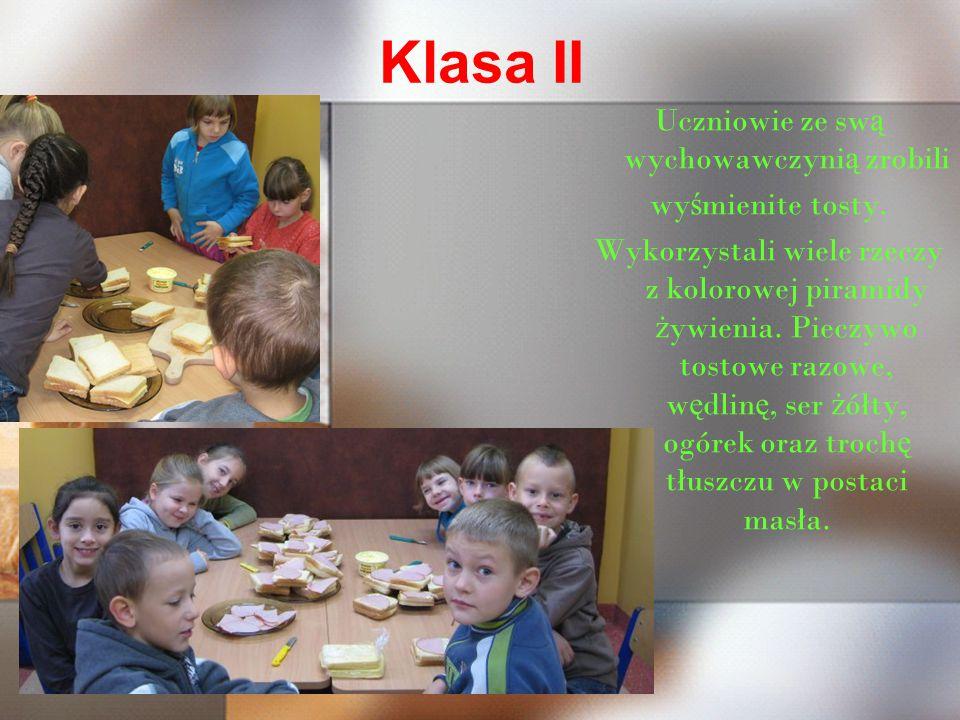 KLASA III Najstarsi uczniowie zajęli się wraz z wychowawczynią przygotowaniem pożywnych, sycących i witaminowych koktajli mleczno-owocowych.