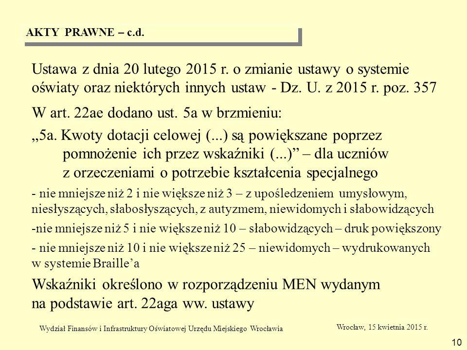 AKTY PRAWNE – c.d. 10 Ustawa z dnia 20 lutego 2015 r. o zmianie ustawy o systemie oświaty oraz niektórych innych ustaw - Dz. U. z 2015 r. poz. 357 W a