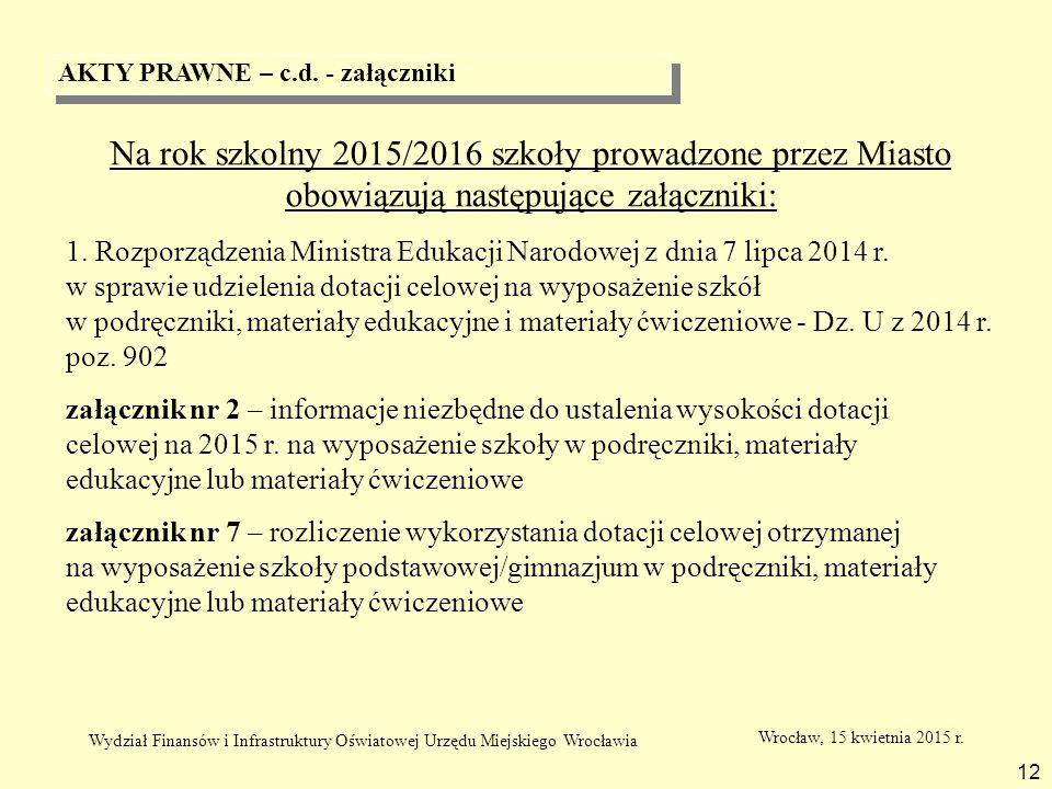 AKTY PRAWNE – c.d. - załączniki 12 Na rok szkolny 2015/2016 szkoły prowadzone przez Miasto obowiązują następujące załączniki: 1. Rozporządzenia Minist