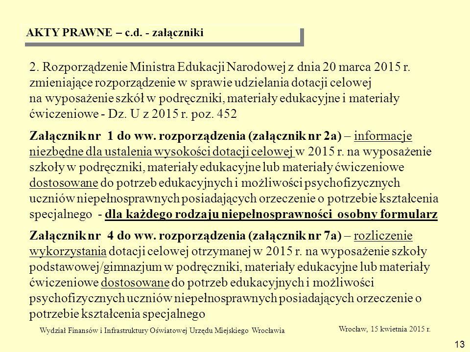 AKTY PRAWNE – c.d. - załączniki 13 2. Rozporządzenie Ministra Edukacji Narodowej z dnia 20 marca 2015 r. zmieniające rozporządzenie w sprawie udzielan