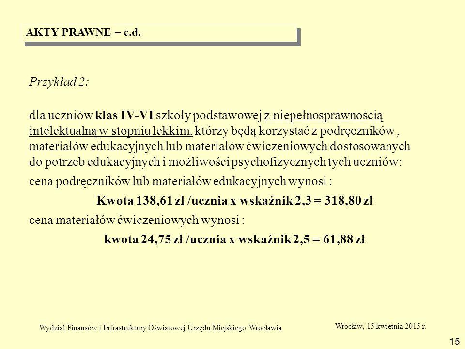 AKTY PRAWNE – c.d. 15 Przykład 2: dla uczniów klas IV-VI szkoły podstawowej z niepełnosprawnością intelektualną w stopniu lekkim, którzy będą korzysta