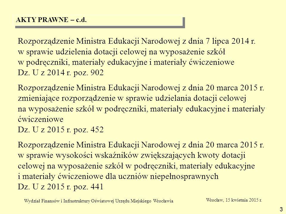 AKTY PRAWNE – c.d. 3 Rozporządzenie Ministra Edukacji Narodowej z dnia 7 lipca 2014 r. w sprawie udzielenia dotacji celowej na wyposażenie szkół w pod