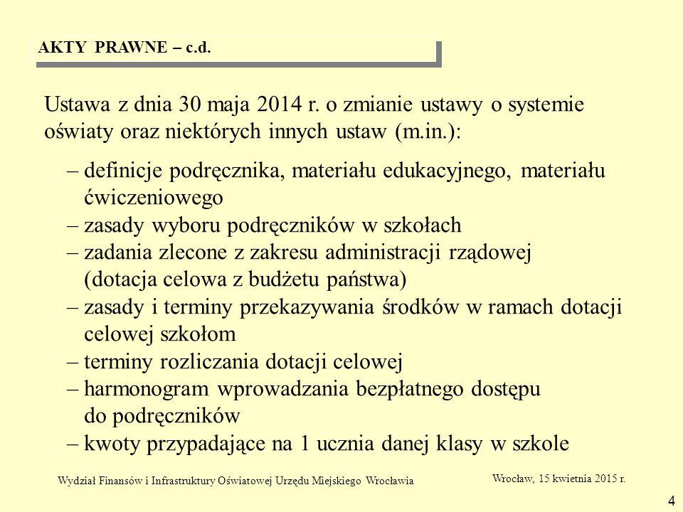 DEFINICJE 5 Podręcznik - podręcznik dopuszczony do użytku szkolnego Materiał edukacyjny – materiał zastępujący lub uzupełniający podręcznik, umożliwiający realizację programu nauczania, mający postać papierową lub elektroniczną Materiał ćwiczeniowy – materiał przeznaczony dla uczniów służący utrwalaniu przez nich wiadomości i umiejętności Wrocław, 15 kwietnia 2015 r.