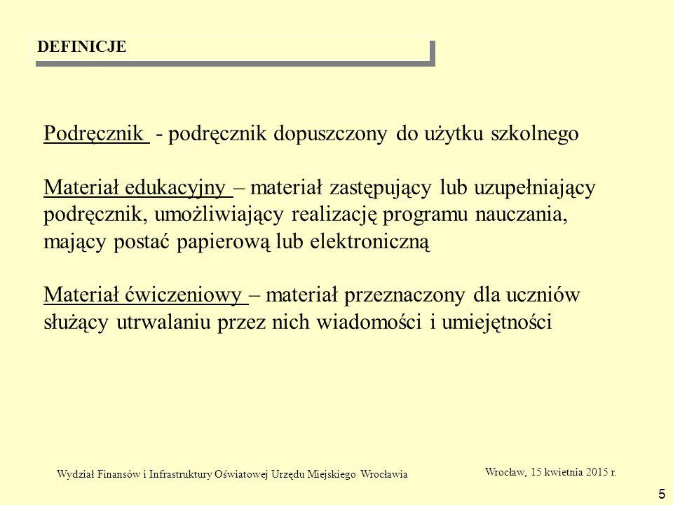 DEFINICJE 5 Podręcznik - podręcznik dopuszczony do użytku szkolnego Materiał edukacyjny – materiał zastępujący lub uzupełniający podręcznik, umożliwia