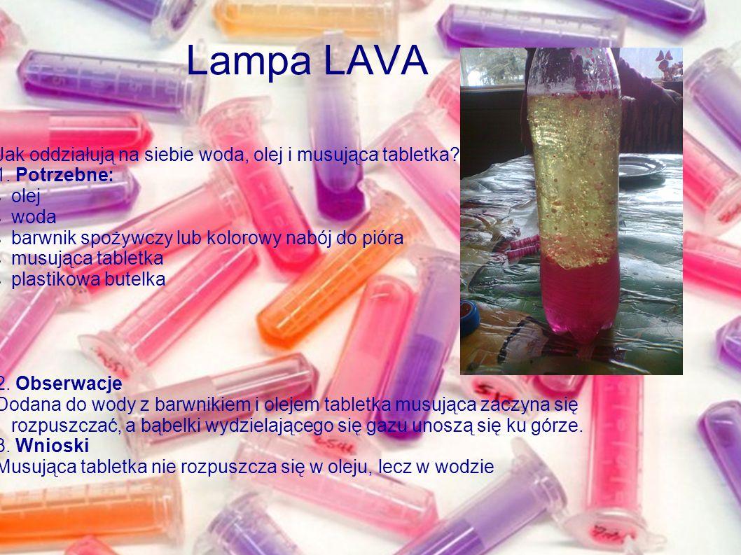 Lampa LAVA Jak oddziałują na siebie woda, olej i musująca tabletka? 1. Potrzebne: olej woda barwnik spożywczy lub kolorowy nabój do pióra musująca tab