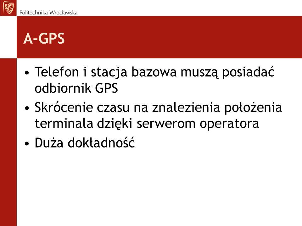 A-GPS Telefon i stacja bazowa muszą posiadać odbiornik GPS Skrócenie czasu na znalezienia położenia terminala dzięki serwerom operatora Duża dokładnoś