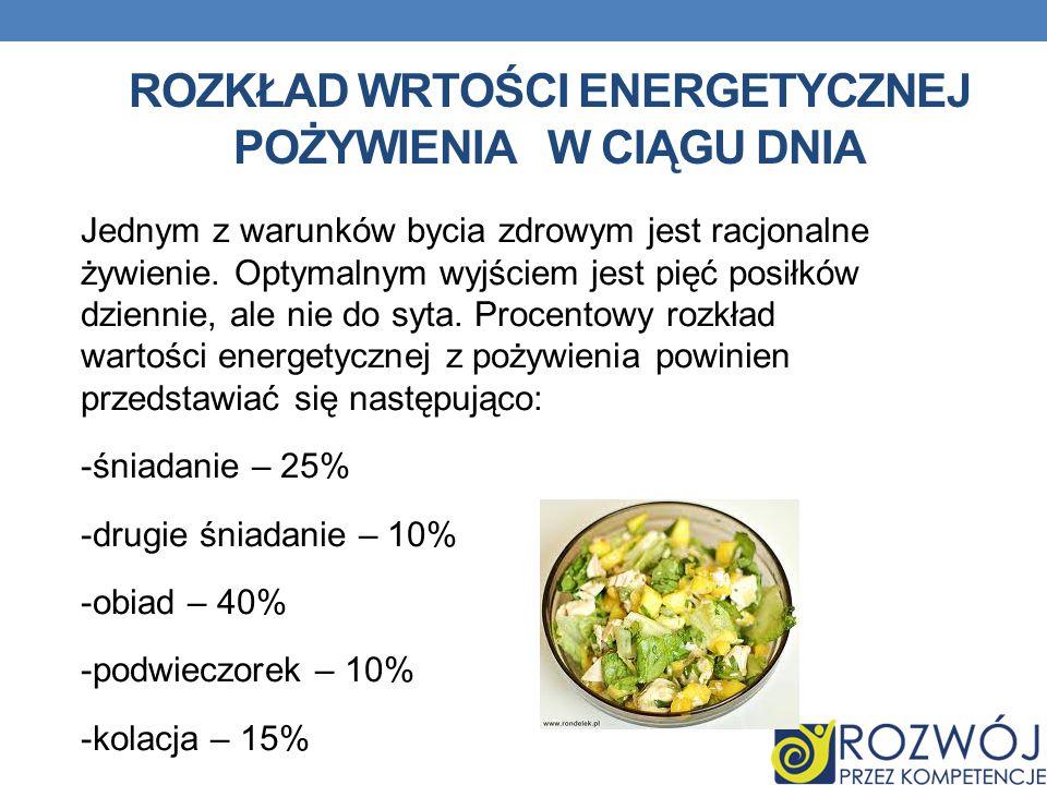 ROZKŁAD WRTOŚCI ENERGETYCZNEJ POŻYWIENIAW CIĄGU DNIA Jednym z warunków bycia zdrowym jest racjonalne żywienie. Optymalnym wyjściem jest pięć posiłków