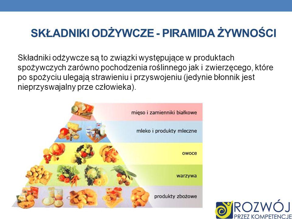 SKŁADNIKI ODŻYWCZE - PIRAMIDA ŻYWNOŚCI Składniki odżywcze są to związki występujące w produktach spożywczych zarówno pochodzenia roślinnego jak i zwie