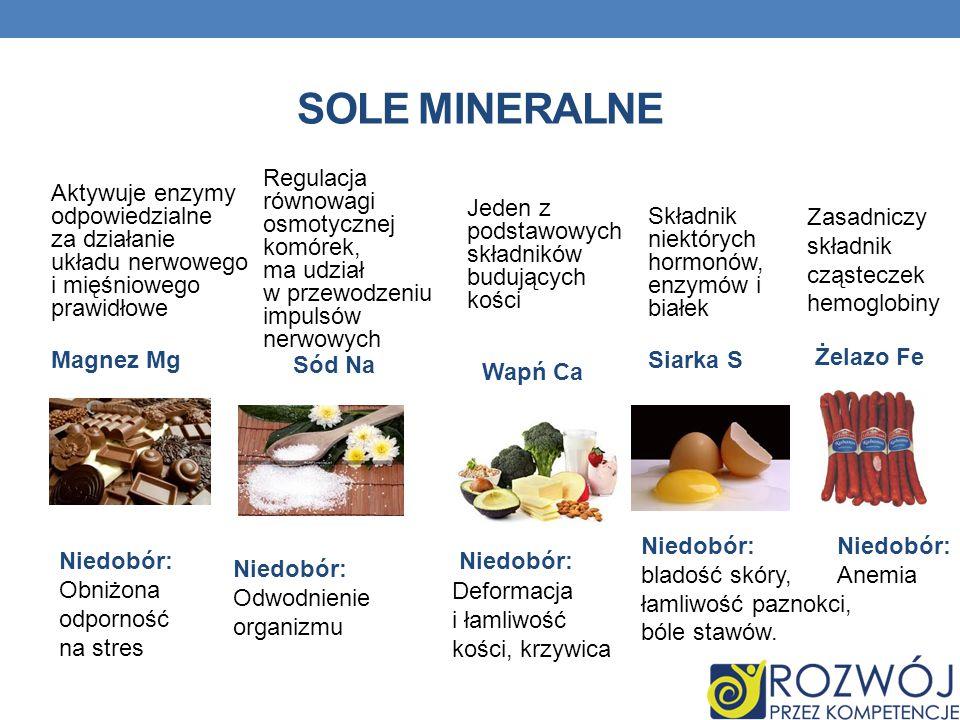 SOLE MINERALNE Niedobór: Obniżona odporność na stres Aktywuje enzymy odpowiedzialne za działanie układu nerwowego i mięśniowego prawidłowe Magnez Mg R