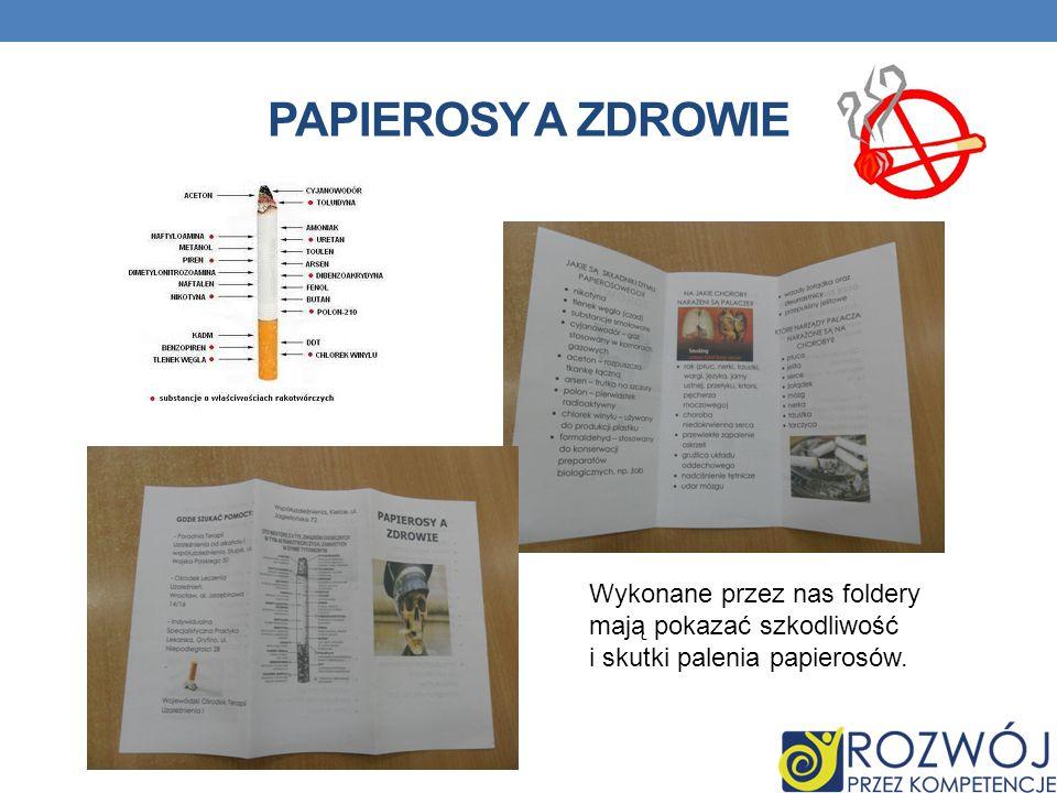 PAPIEROSY A ZDROWIE Wykonane przez nas foldery mają pokazać szkodliwość i skutki palenia papierosów.