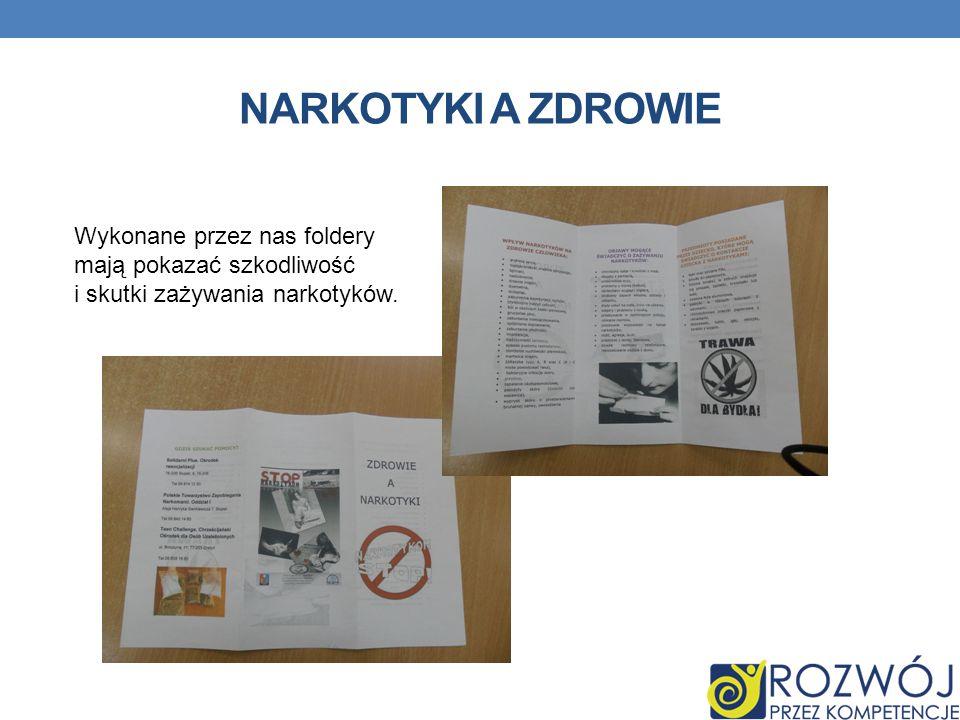 NARKOTYKI A ZDROWIE Wykonane przez nas foldery mają pokazać szkodliwość i skutki zażywania narkotyków.