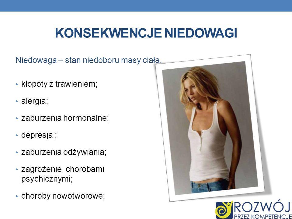 KONSEKWENCJE NIEDOWAGI kłopoty z trawieniem; alergia; zaburzenia hormonalne; depresja ; zaburzenia odżywiania; zagrożenie chorobami psychicznymi; chor