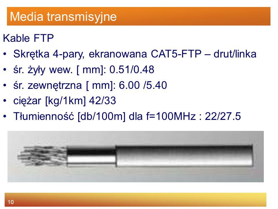 10 Media transmisyjne Kable FTP Skrętka 4-pary, ekranowana CAT5-FTP – drut/linka śr. żyły wew. [ mm]: 0.51/0.48 śr. zewnętrzna [ mm]: 6.00 /5.40 cięża