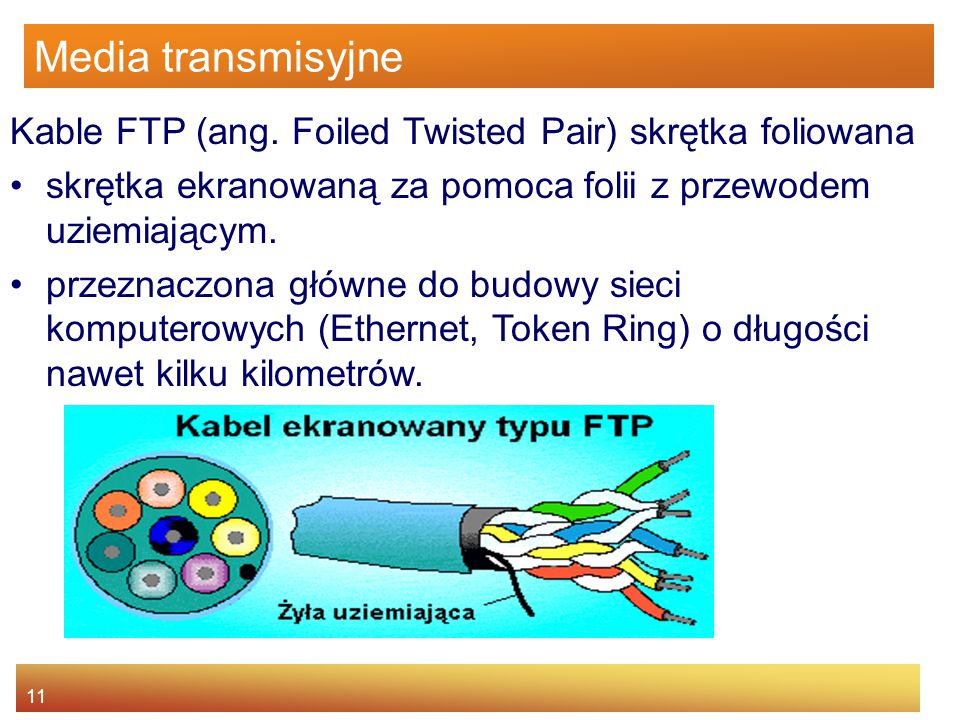 11 Media transmisyjne Kable FTP (ang. Foiled Twisted Pair) skrętka foliowana skrętka ekranowaną za pomoca folii z przewodem uziemiającym. przeznaczona