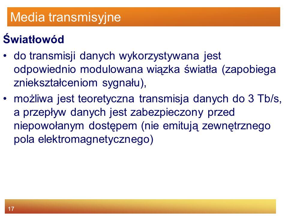 17 Media transmisyjne Światłowód do transmisji danych wykorzystywana jest odpowiednio modulowana wiązka światła (zapobiega zniekształceniom sygnału),