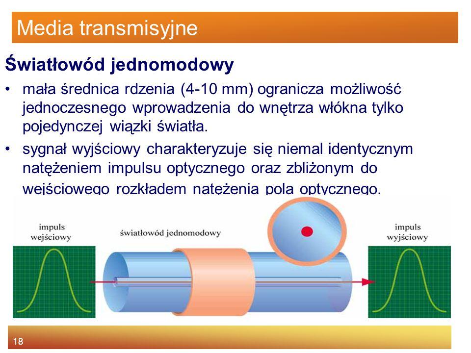18 Media transmisyjne Światłowód jednomodowy mała średnica rdzenia (4-10 mm) ogranicza możliwość jednoczesnego wprowadzenia do wnętrza włókna tylko po