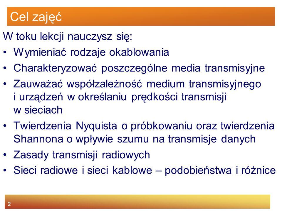2 Cel zajęć W toku lekcji nauczysz się: Wymieniać rodzaje okablowania Charakteryzować poszczególne media transmisyjne Zauważać współzależność medium t