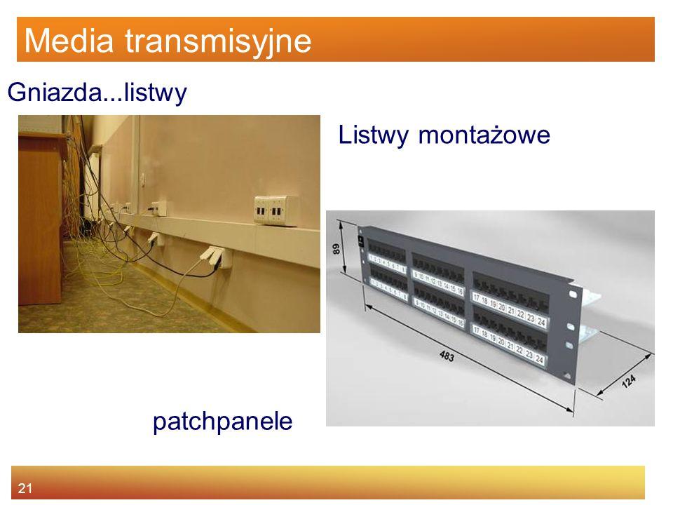 21 Media transmisyjne Gniazda...listwy patchpanele Listwy montażowe