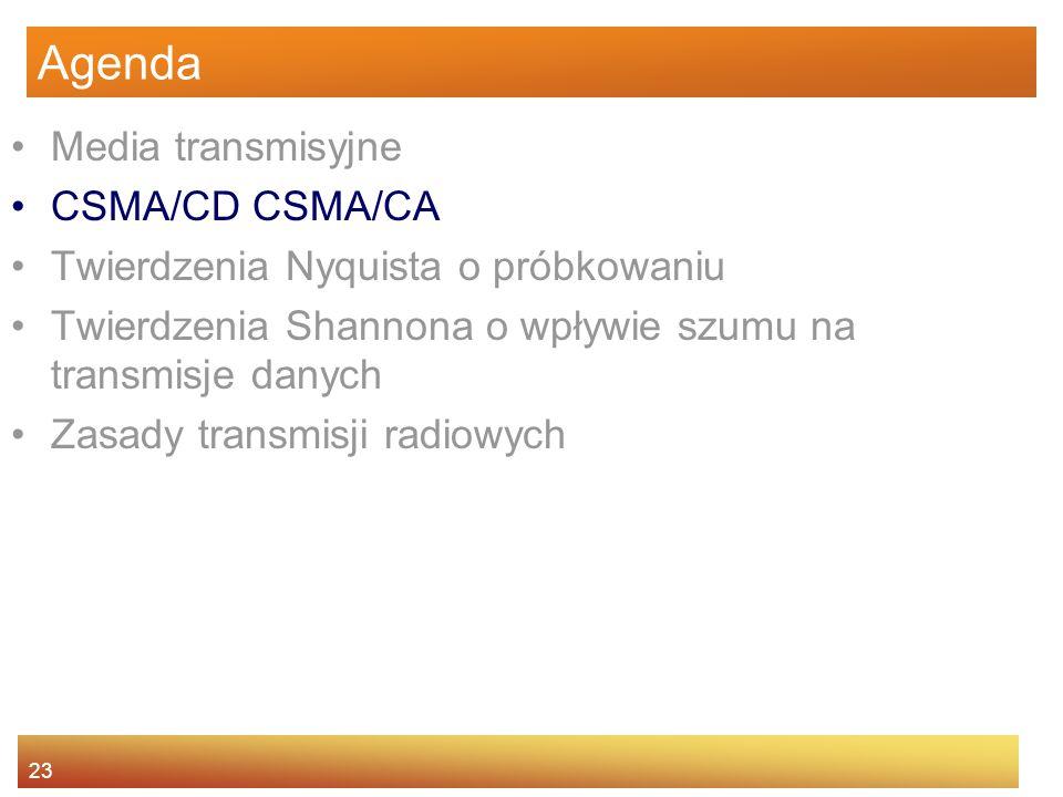 23 Agenda Media transmisyjne CSMA/CD CSMA/CA Twierdzenia Nyquista o próbkowaniu Twierdzenia Shannona o wpływie szumu na transmisje danych Zasady trans